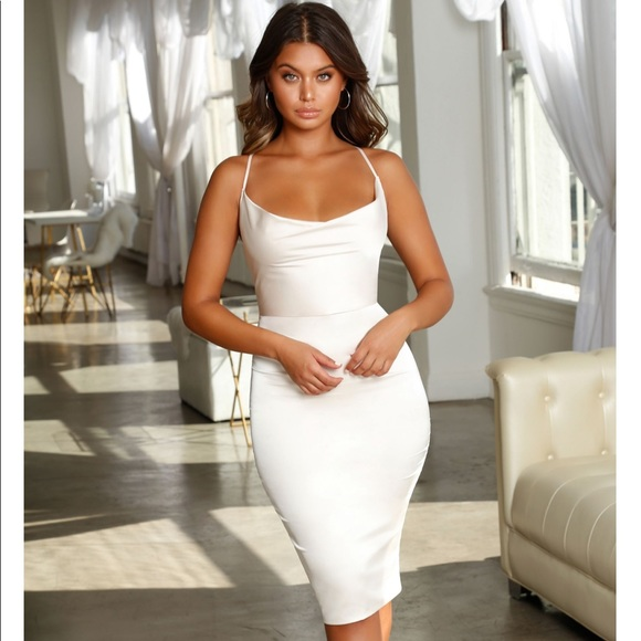 a0951d1cace Cowl Play Satin Midi Dress in Oyster